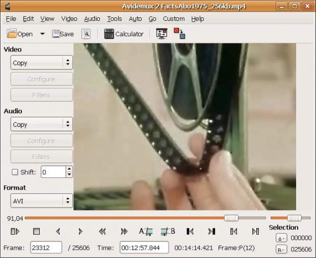 Фрагмент программы Avidemux для Windows.