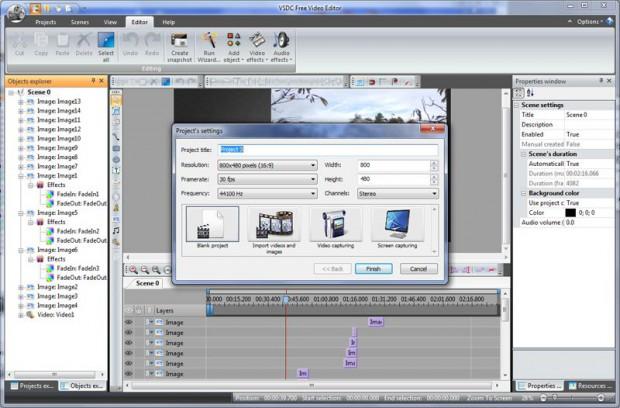 Фрагмент программы VSDC Free Video Editor.