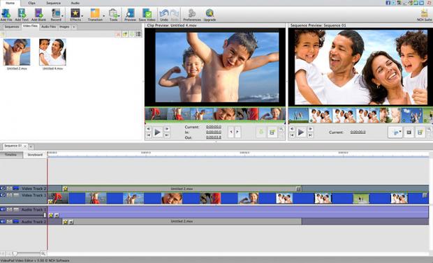 Фрагмент программы VideoPad Video Editor.