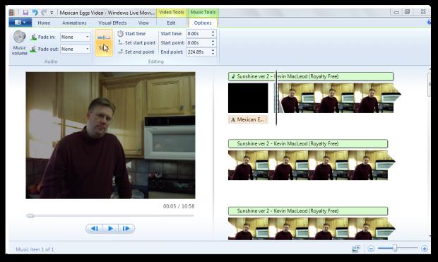 Фрагмент программы Windows Movie Maker.