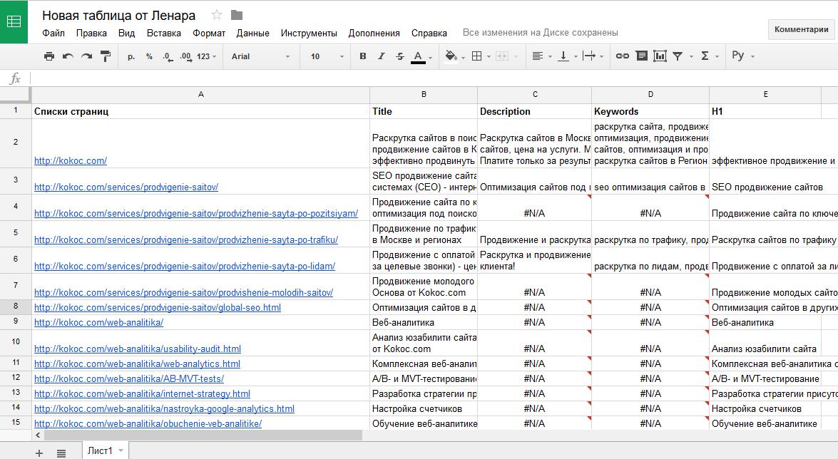 Как быстро собрать мета-теги сайта с помощью Google Docs