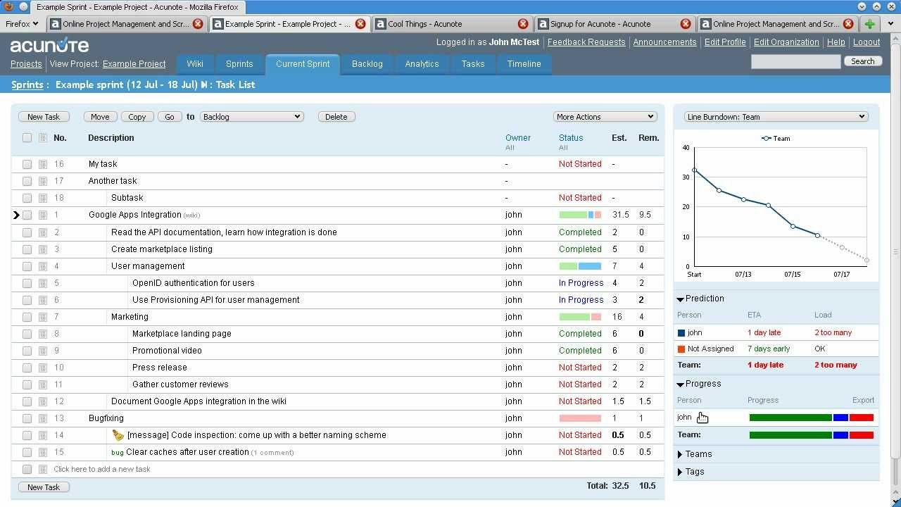 Acunote – таск-менеджер для разработчиков, позволяющий планировать спринты