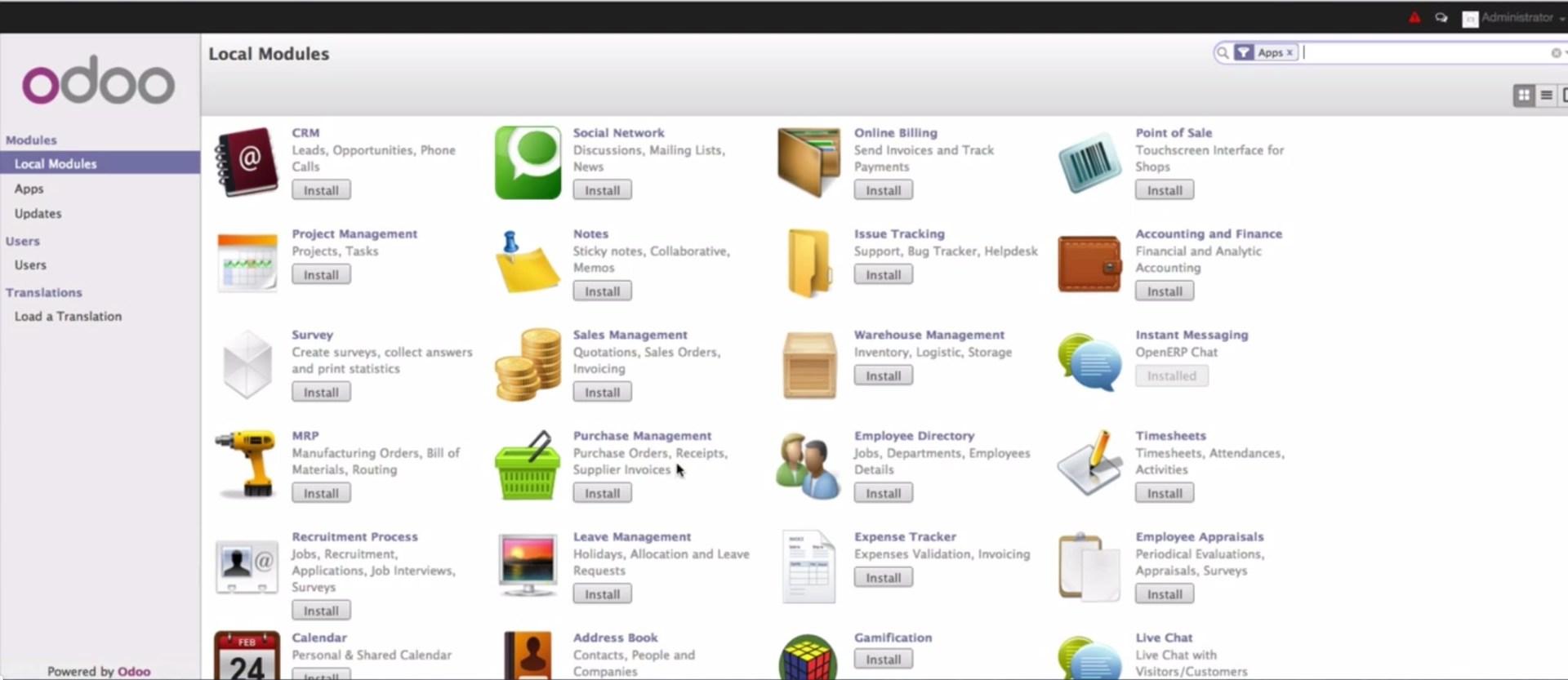 Odoo – сборник open source приложений для бизнеса, включающих в себя системы CRM, POS, создания сайтов