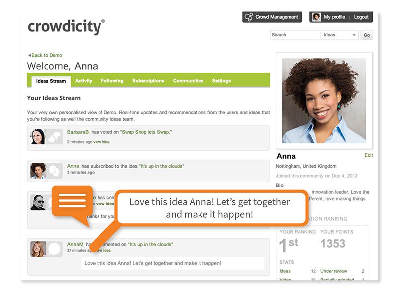 Crowdicity – сервис управления идеями, имеющий внушительную базу клиентов: LEGO, WWF, BBC, P&G, Deloitte, John Lewis и другие.
