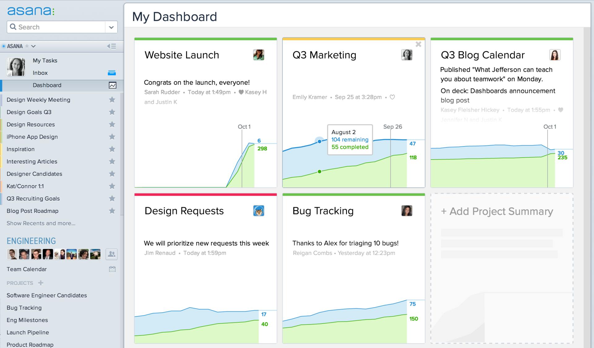 Asana – web-приложение, позволяющее назначать задачи, выставлять приоритеты и дедлайны, следить за статусом выполнения задач и статусом проекта в целом